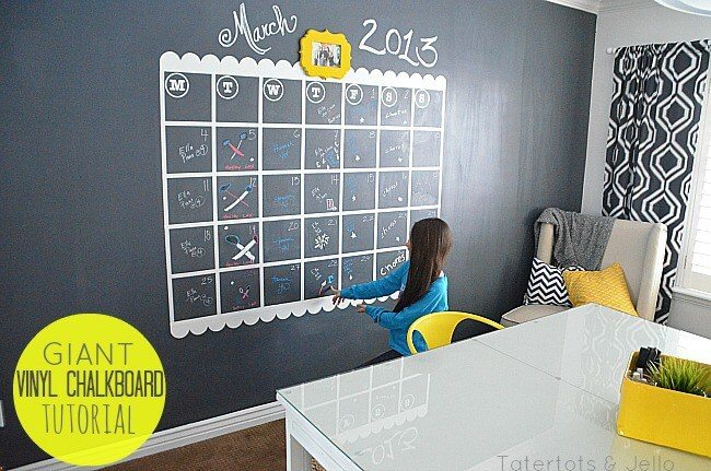 Chalkboard wall calendar gives you lots of space and large boxes to make lists and more.