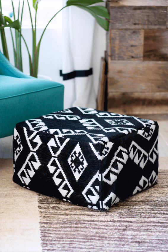Make your own pouf footstool for a fraction of the cost of those in stores.