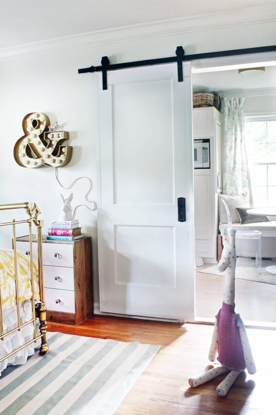 white sliding barn door using prefab doors