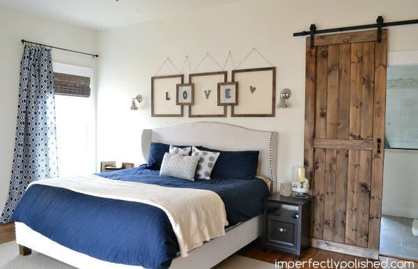 dark stained sliding barn door for bedroom