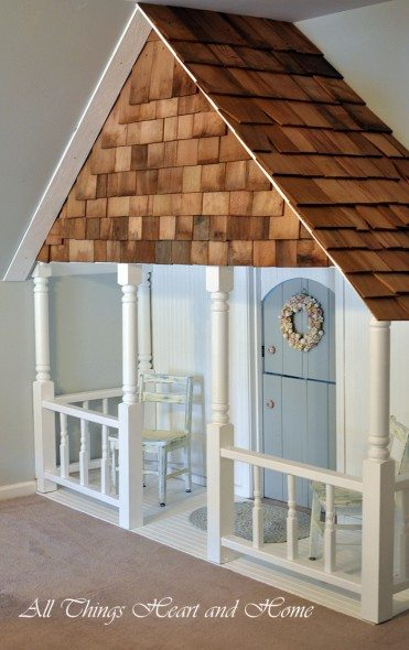 playhouse with a barn door entrance