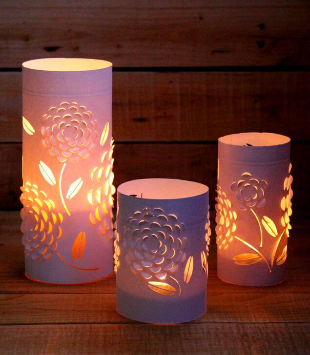 dimensional paper lanterns using candles and cardstock