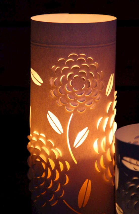 textured paper lantern from cardstock and candle holders