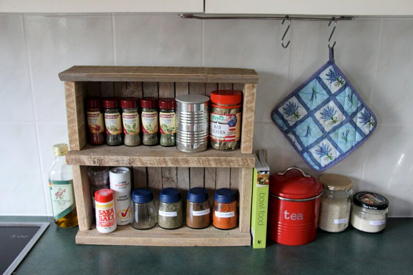 Create a spice rack out of pallets to keep your favorite spices handy on the counter.