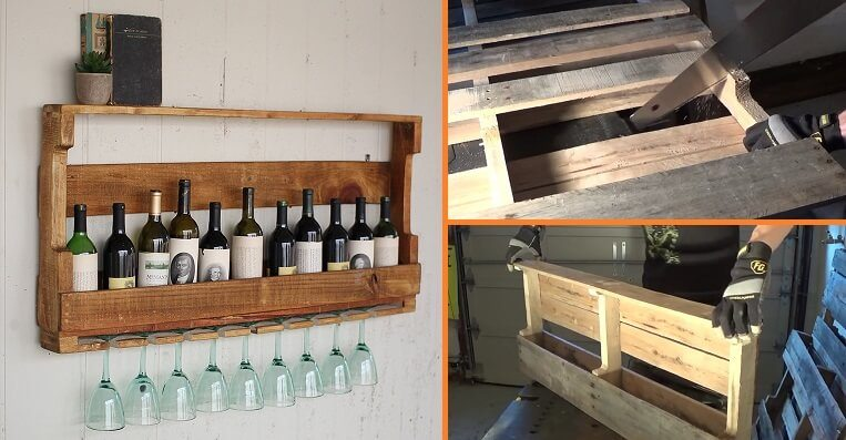 Keep your wine bottles and glasses organized and handy with this pallet wine rack.