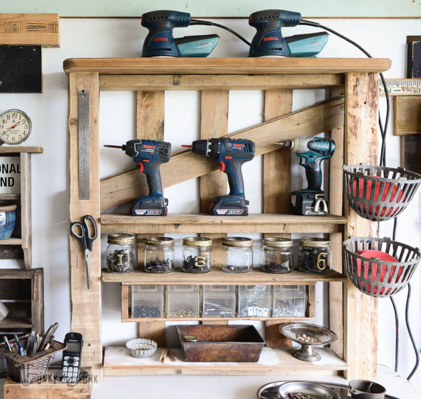 Pallet tool storage shelf keeps tools and other workshop items organized and accessible.