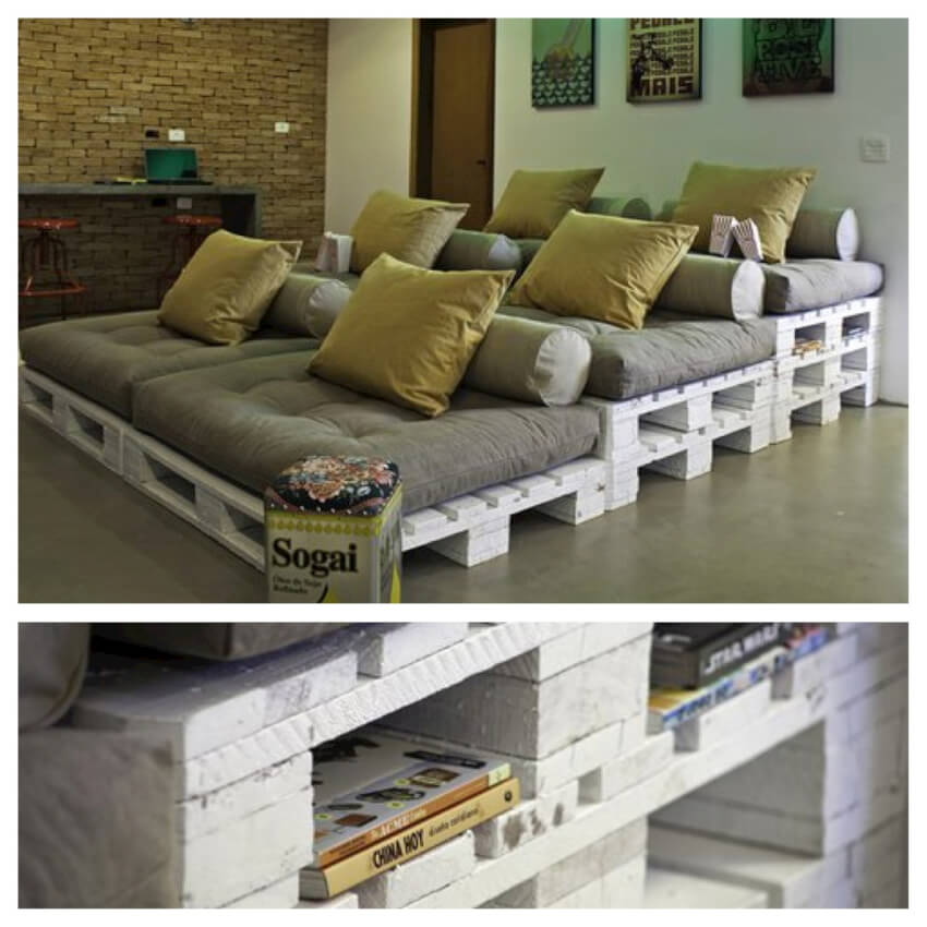 Create your own home theater complete with pallet stadium seating and built-in bookshelves.