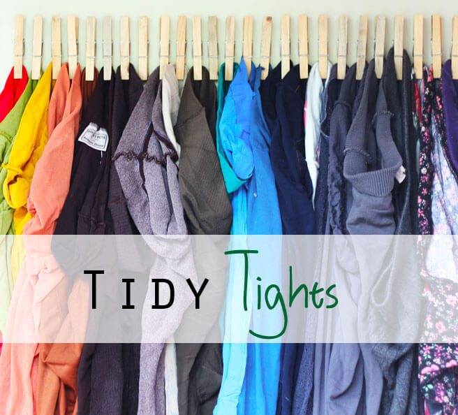 brightly colored tights clothespins closet organization