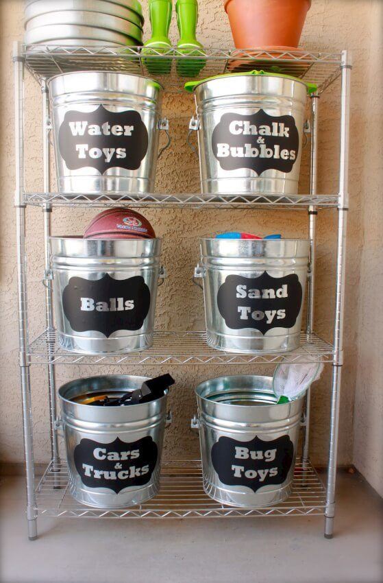 Use either metal or plastic buckets that can be clearly labeled for storage.