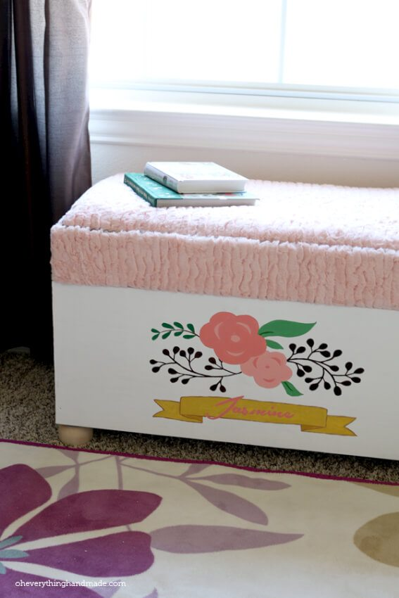 DIY toy chest doubles as a comfy spot to read some books or play.