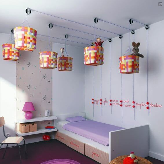 An overhead pulley system makes for very unique storage and an interesting room element.