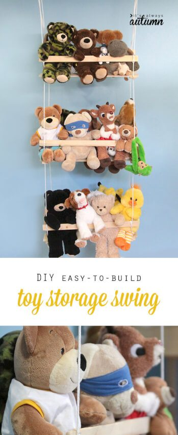 Stuffed animals hanging out together on a DIY swing
