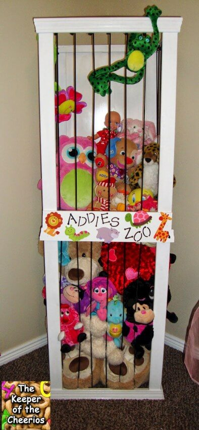 Create a zoo style storage unit for your child's stuffed animals