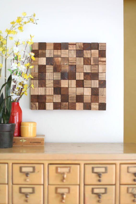 stained wood block mosaic