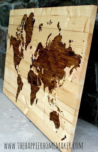 wood stained wall map