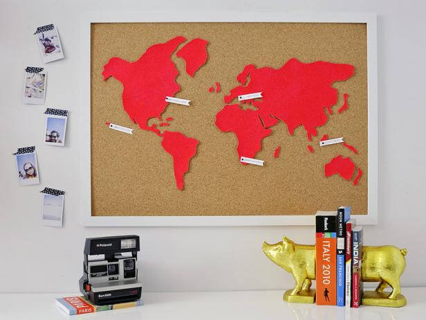 bright red cork world wall map