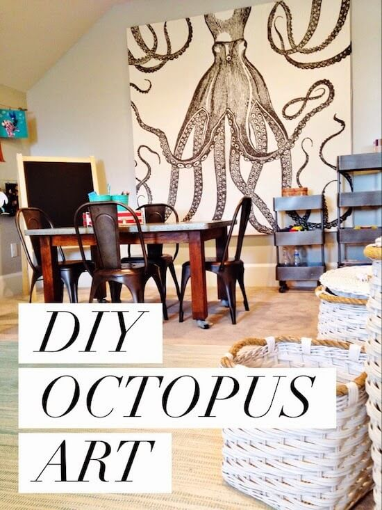 large octopus shower curtain hanging