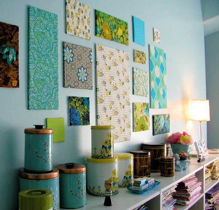 blue floral cheerful fabric panels