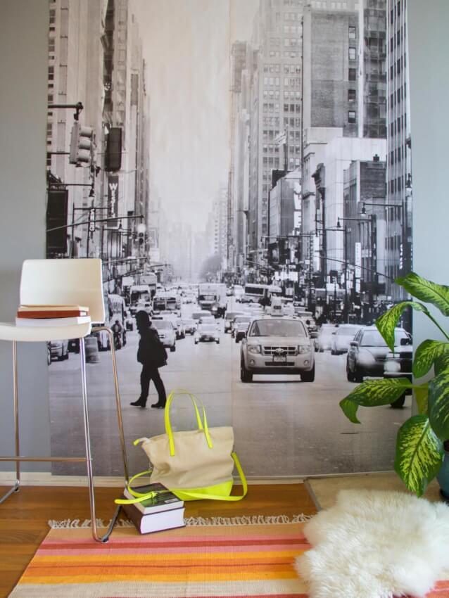 personalized street scene black and white photo mural