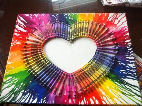 bright ombre melted crayon heart 3D wall hanging
