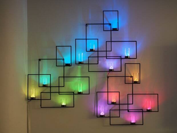 multicolored neon wall sconces with hidden weather