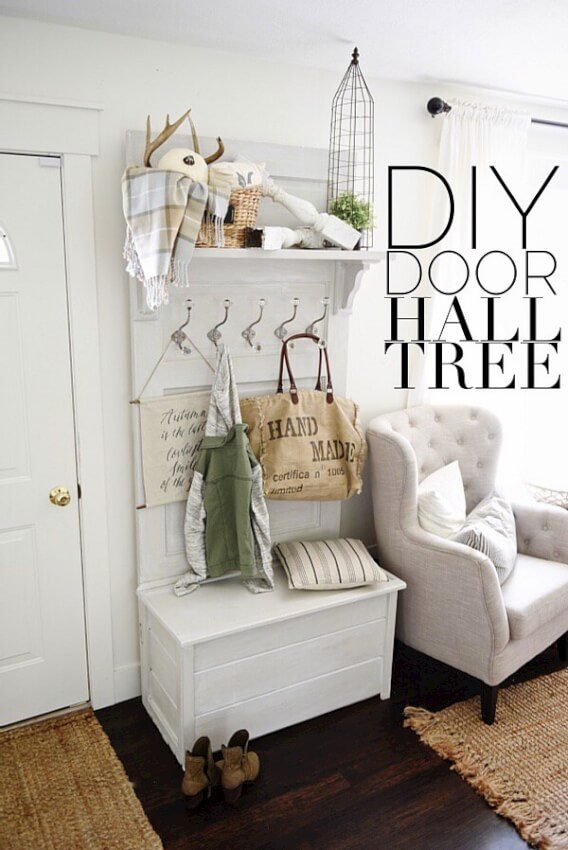 Door Hall Tree Using a Storage Bench and hooks
