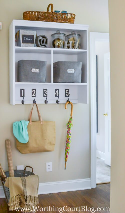 Transforming a china hutch into wall mounted mudroom space