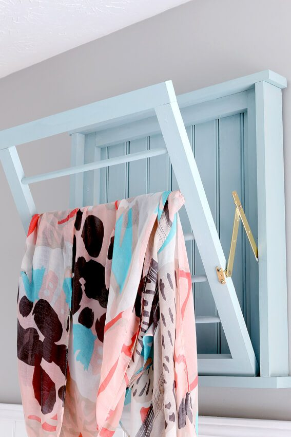 diy wall mounted laundry room fold out drying rack