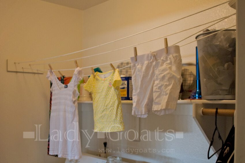diy indoor clothesline for a laundry room