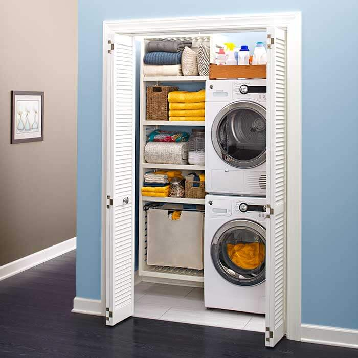 closet converted into a laundry room space