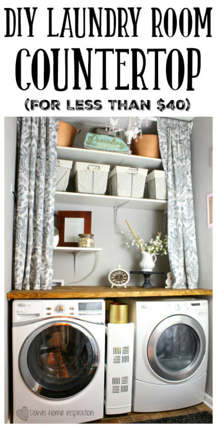 built in laundry room countertop and shelving