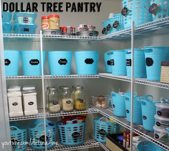 Laundry baskets of various sizes are perfect for organizing and you can give them a unified look with some paint and labels.