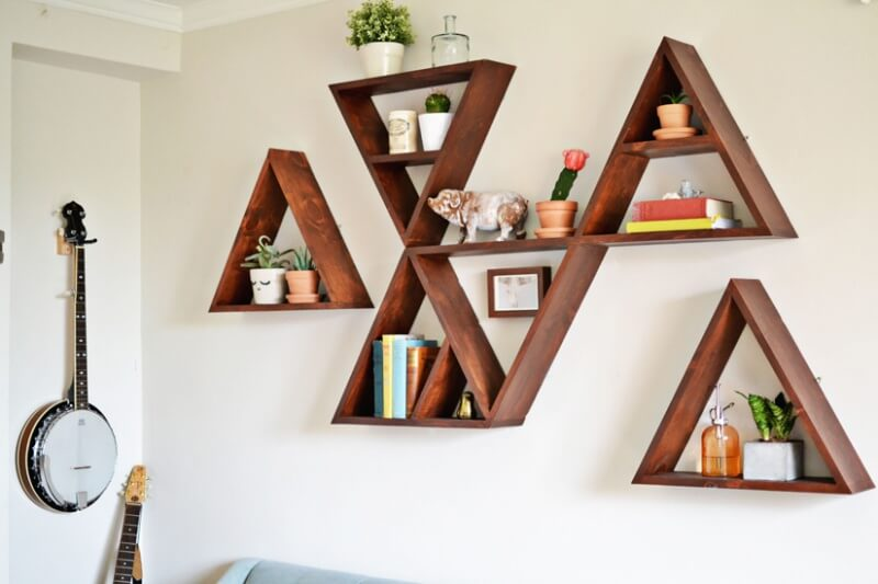 These triangle shelves can be designed to your needs and can be installed either upside down or right side up.