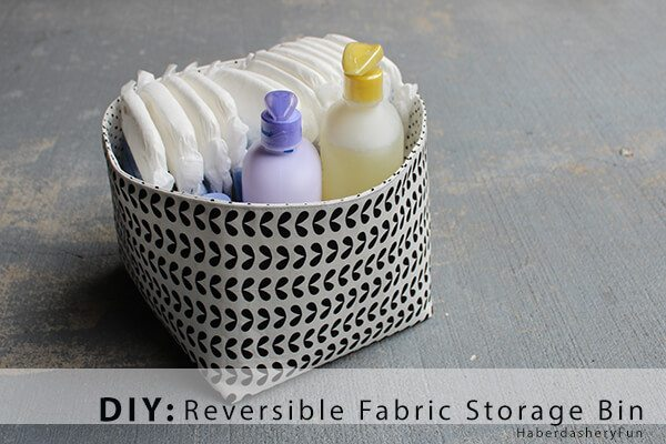 Make this fabric storage bin reversible by using two different fabrics.