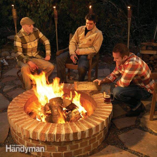 If you're looking for a more permanent fire pit that is solid and low maintenance, consider this mortared in brick fire pit.