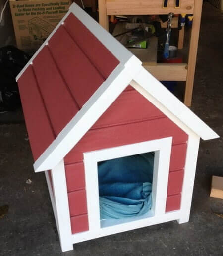 Red and white doghouse.