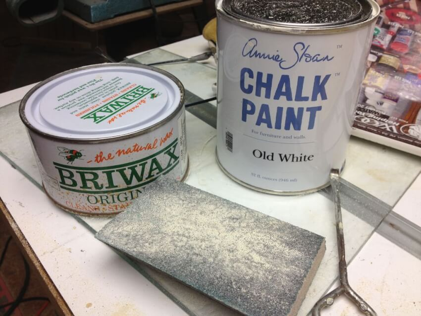 chalk paint and briwax for finishing table legs