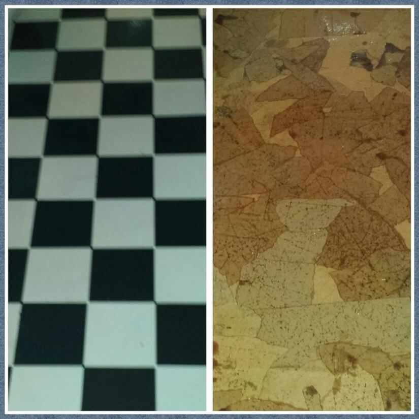before and after for brown paper bag flooring project