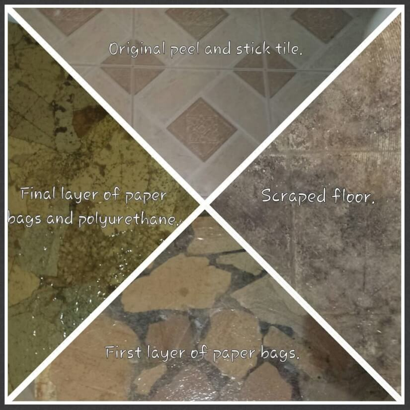 comparison of floors before and after brown paper bag floors